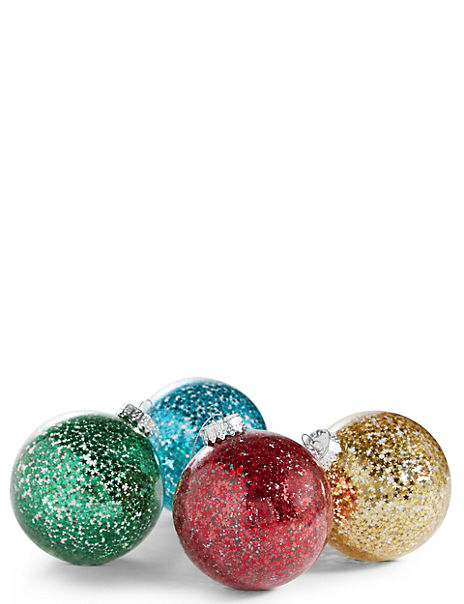 4 Pack Bright Stars Glass Baubles