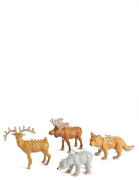 4 Pack Woodland Animal Decoration Baubles