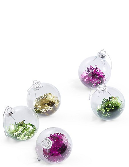 6 Pack Trapped Glitter Glass Baubles