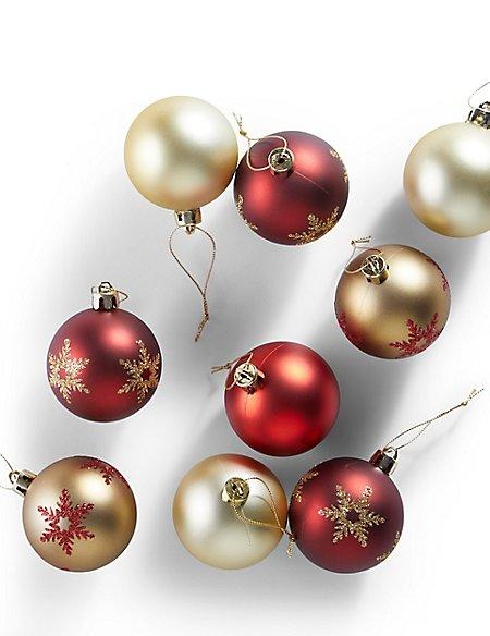 12 Decorative Red Shatterproof Baubles