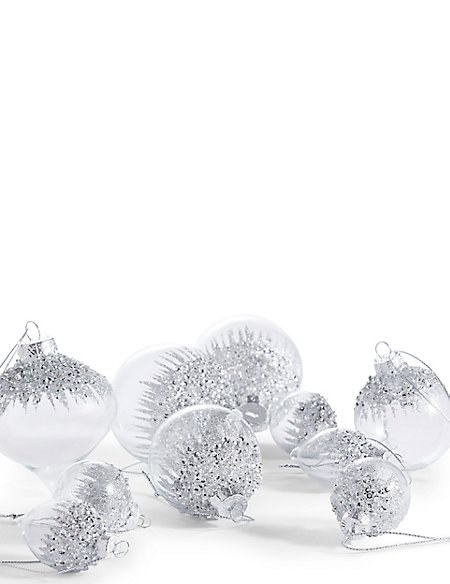 20 Silver Glass Tree Baubles