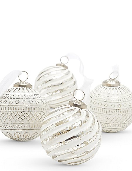 4 Silver & White Indian Glass Baubles