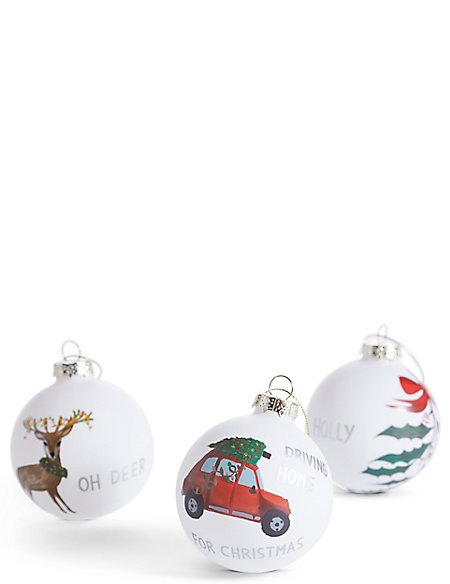 6 Pack Lodge Scene Glass Baubles