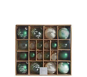 20 Green Mix Decorative Glass Baubles