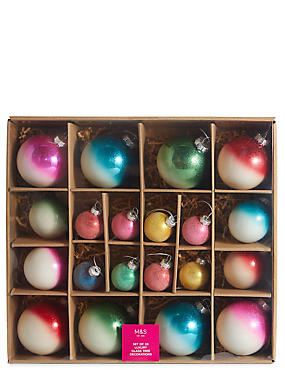 20 Bright Ombre Decorative Glass Bauble Pack