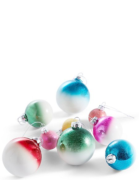 20 Bright Ombre Decorative Glass Baubles