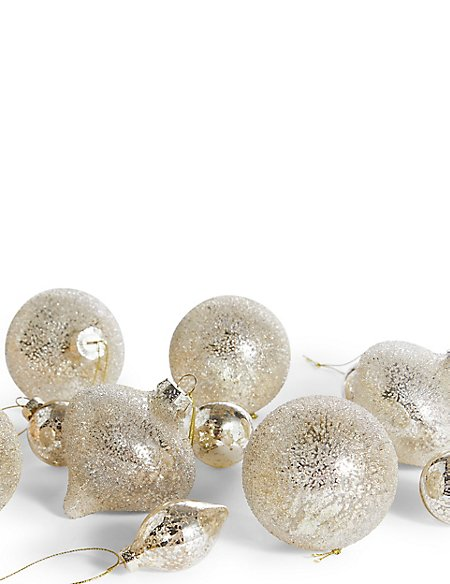20 Pack Gold Decorative Glass Baubles