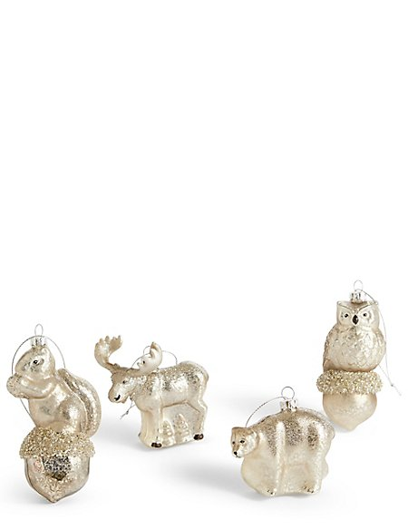 4 Arctic Animals Moulded Glass Baubles