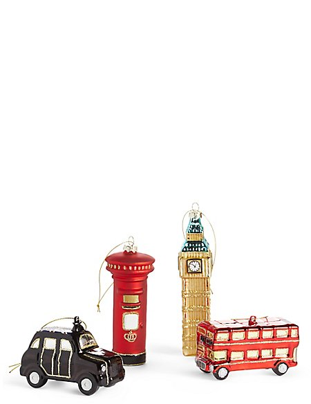 4 Pack London Icons Moulded Glass Baubles