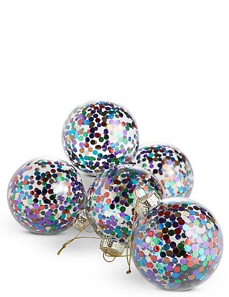 6 Pack Multi Glitter Spot Glass Baubles
