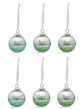 6 Green Crackle Indian Glass Baubles