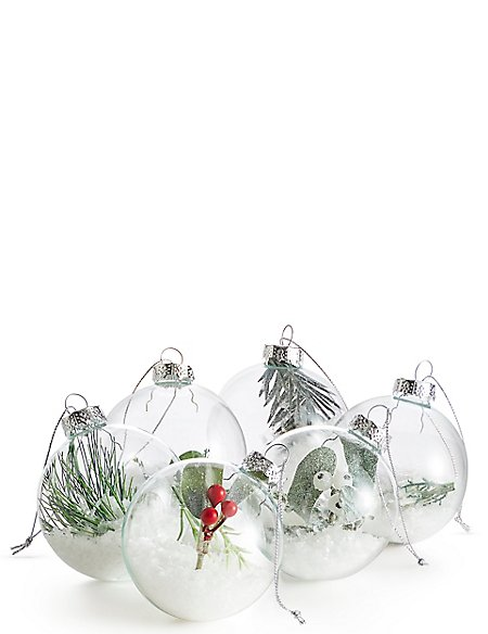 6 Pack Trapped Foliage Glass Baubles