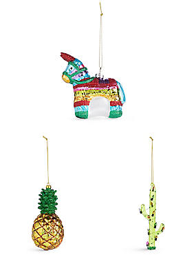 3 Pack Tropical Moulded Glass
