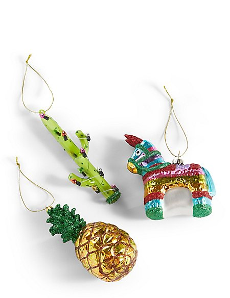 3 Pack Tropical Moulded Glass Baubles