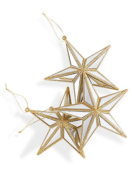3 Pack Gold Star Baubles