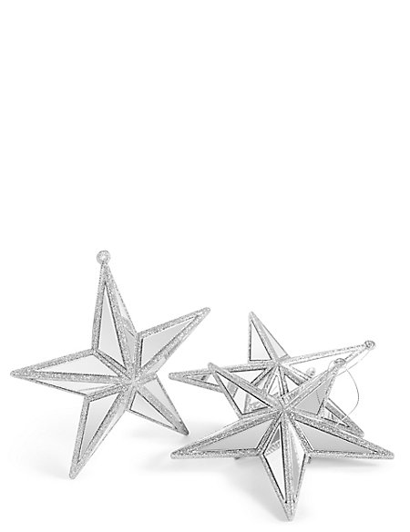 3 Pack Silver Star Baubles