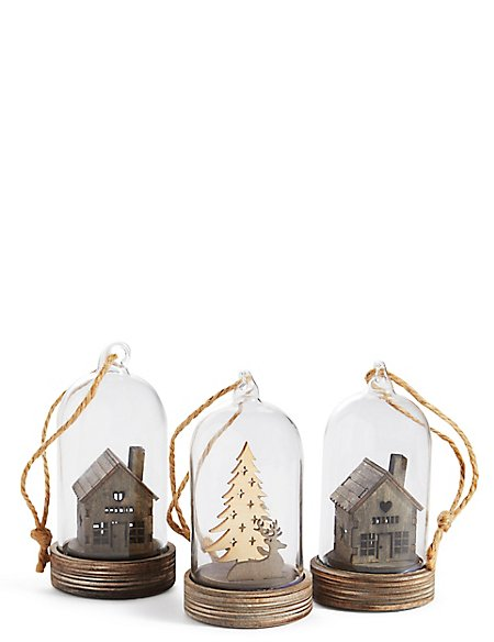 3 Pack Wooden House & Deer Scene Led Baubles