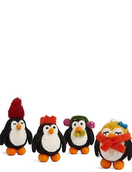 4 Penguin Tree Decoration Baubles