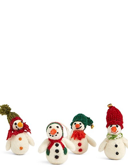 4 Snowmen Tree Decoration Baubles