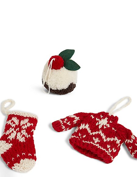 3 Pack Knitted Christmas Icon Baubles