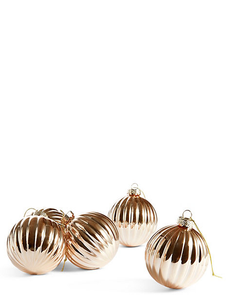 6 Pack Copper Swirl Glass Baubles