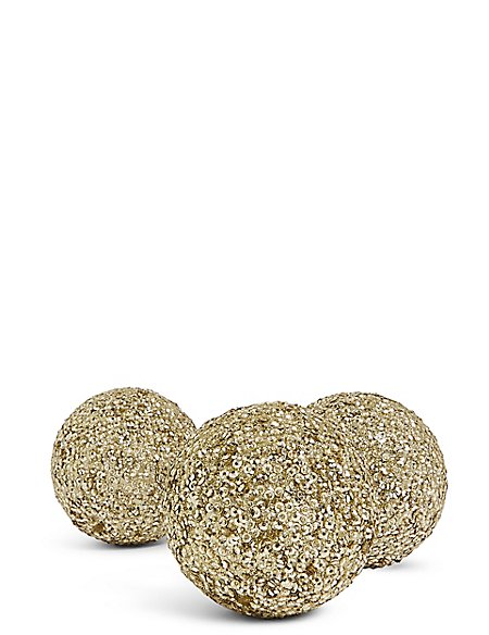 3 Pack Large Gold Glitter Bauble