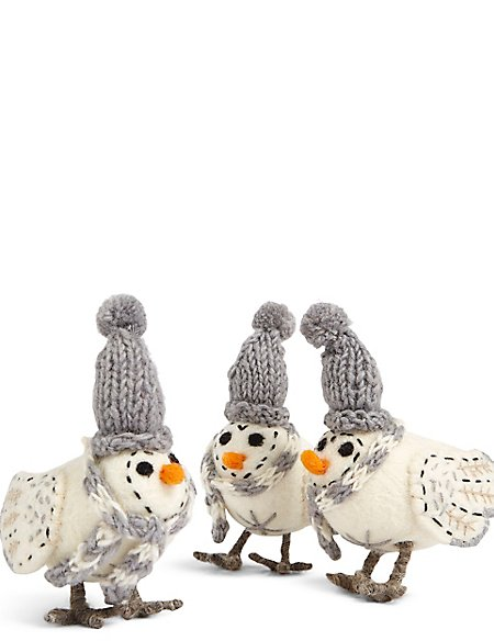 3 Pack Natural Robin Character Baubles