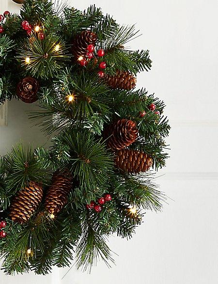 16 inch Lit Winterberry Wreath