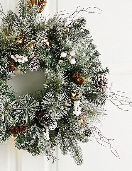 16 inch Lit Snowy Berry Wreath