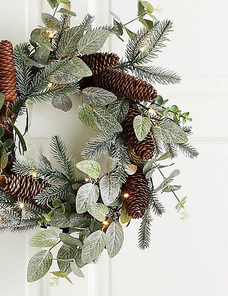 18 inch Lit Eucalyptus & Pinecone Wreath