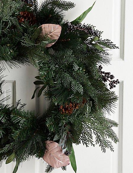 24 inch Xl Natural Leaf & Blue Berry Wreath