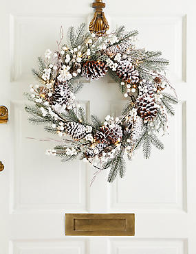 24 inch Extra Large Lit Snowy Berry Wreath, , catlanding