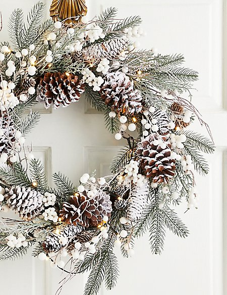 24 inch Extra Large Lit Snowy Berry Wreath