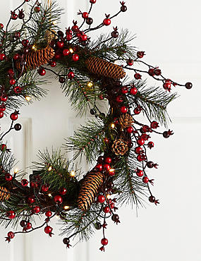18 inch Lit Red Berry & Pinecone Wreath