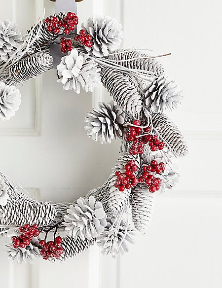 13 inch White Pinecone Wreath