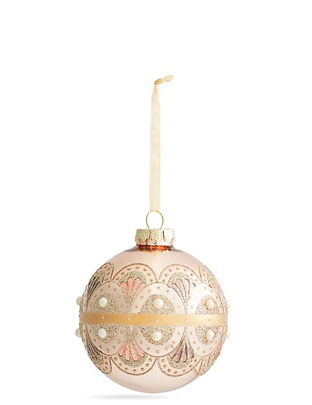 Rose Gold with Pearl Detail Glass Bauble