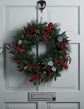 Pre-Lit Pine Cone & Berry Wreath