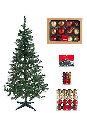 6Ft Tree, Red Bauble & Lights Bundle