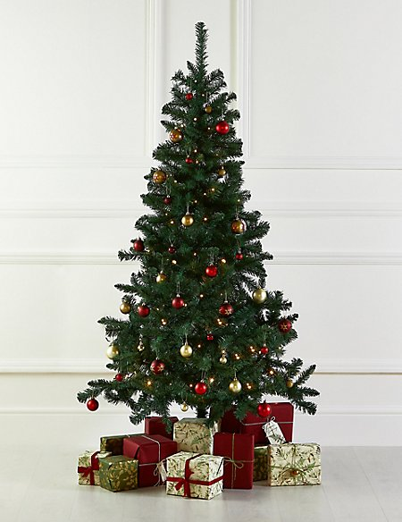 6Ft Tree, Red Bauble & Lights Bundle