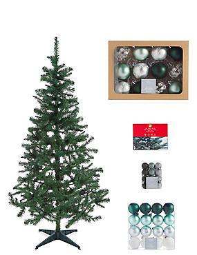 6Ft Tree, Green Bauble & Lights Bundle