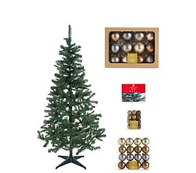6Ft Tree, Metallic Bauble & Lights Bundle