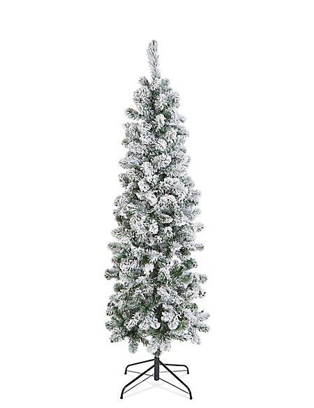 6Ft Slim Lit Snowy Tree