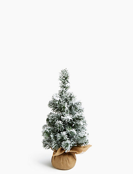 1.5ft Pre Lit Snowy Christmas Tree