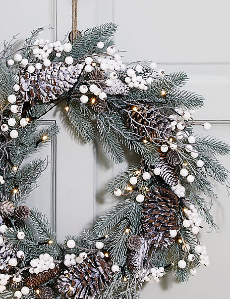 24inch Extra Large Pre Lit Snowy Berry Wreath