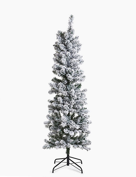 6ft Pre Lit Slim Snowy Christmas Tree