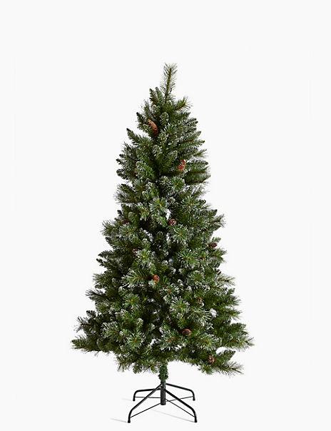 6ft Pre Lit Silver Glitter Tree