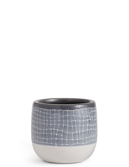 11cm Short Light Grey Glazed Grid