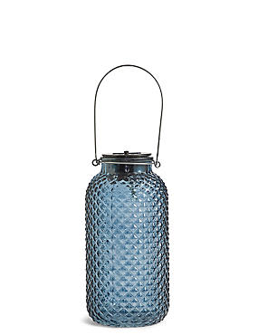 Large Blue Solar Jar Light