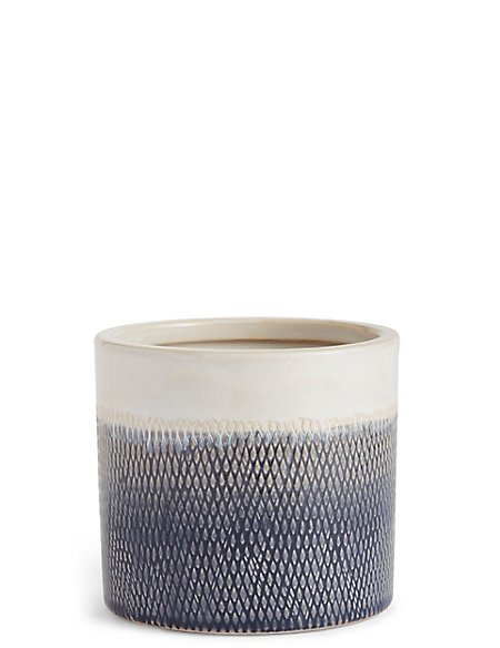 14cm Blue Texture Ombre Glaze Planter