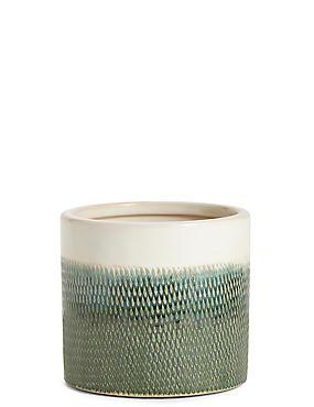 14cm Green Texture Ombre Glaze Planter